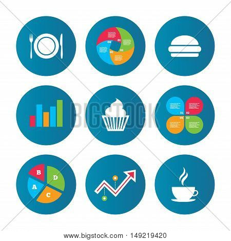 Business pie chart. Growth curve. Presentation buttons. Food and drink icons. Muffin cupcake symbol. Plate dish with fork and knife sign. Hot coffee cup and hamburger. Data analysis. Vector