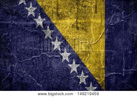 Flag of Bosnia and Herzegovina overlaid with grunge texture