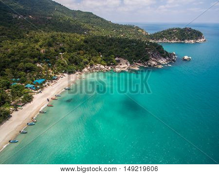 Aerial view of beach and boats Koh Phangan, Thailand