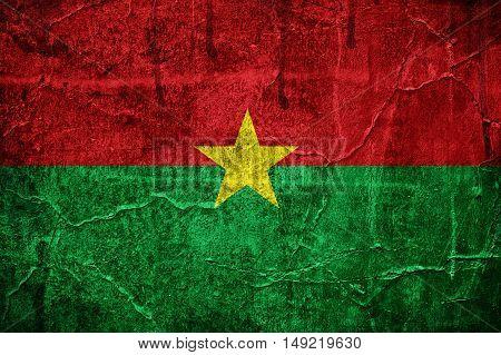 Flag of Burkina Faso overlaid with grunge texture