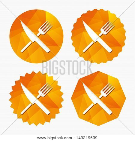 Food sign icon. Cutlery symbol. Knife and fork. Triangular low poly buttons with flat icon. Vector