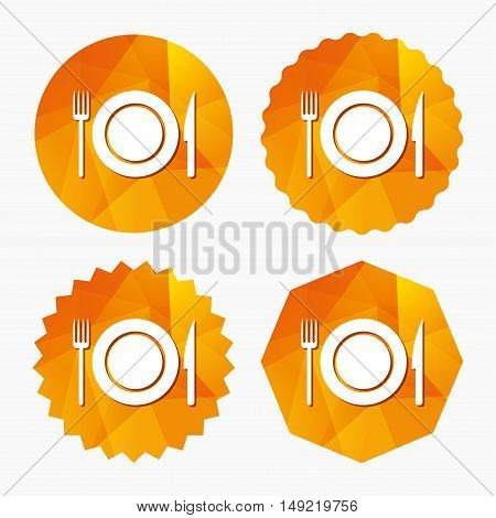 Food sign icon. Cutlery symbol. Knife and fork, dish. Triangular low poly buttons with flat icon. Vector