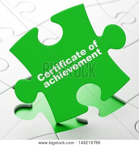 Studying concept: Certificate of Achievement on Green puzzle pieces background, 3D rendering