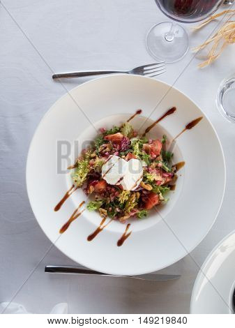 Aerial Salad In White Bowl Plate