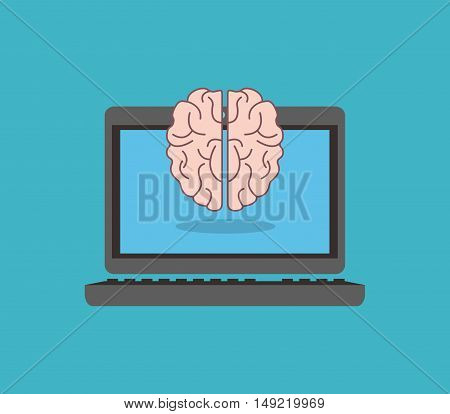 flat design human brain with science related icons image vector illustration