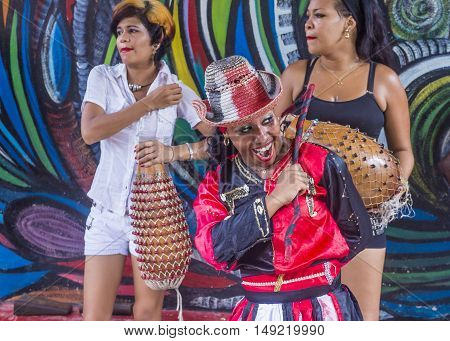 HAVANA CUBA - JULY 18 : Rumba dancer in Havana Cuba on July 18 2016. Rumba is a secular genre of Cuban music involving dance percussion and song. It originated in the northern regions of Cuba