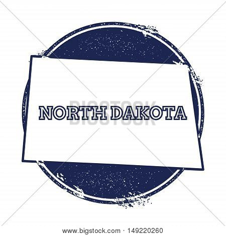 North Dakota Vector Map. Grunge Rubber Stamp With The Name And Map Of North Dakota, Vector Illustrat