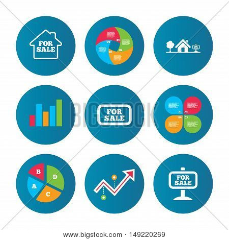Business pie chart. Growth curve. Presentation buttons. For sale icons. Real estate selling signs. Home house symbol. Data analysis. Vector