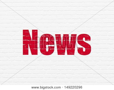 News concept: Painted red text News on White Brick wall background