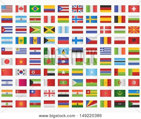 100 World Flags on white background. Vector illustration.