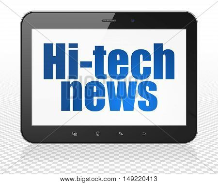 News concept: Tablet Pc Computer with blue text Hi-tech News on display, 3D rendering