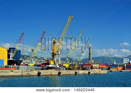 Cargo cranes with warehouse sea industrial port of Genova, Italy