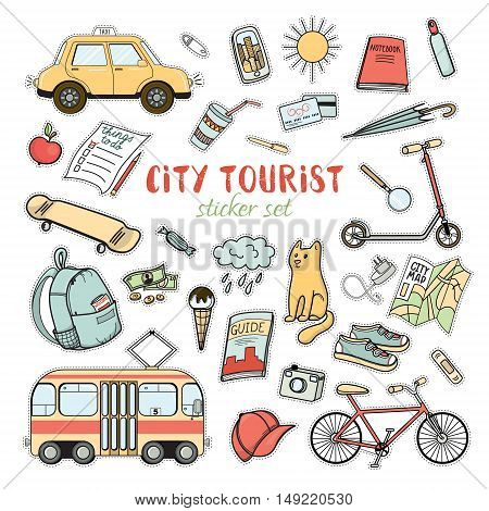 City life colorful sticker set of hand drawn doodles, vector illustration isolated on white background. Urban tourist necessities, city transport, tourist atributes