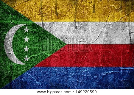 Flag of Comoros overlaid with grunge texture