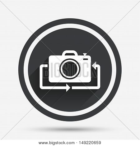 Front photo camera sign icon. Digital photo camera symbol. Change front to back. Circle flat button with shadow and border. Vector