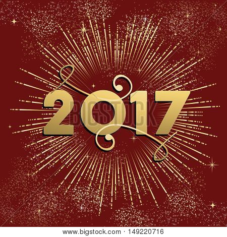 Happy New Year 2017 Firework Design In Gold
