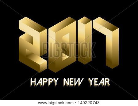 Gold New Year 2017 Isometric Style Design
