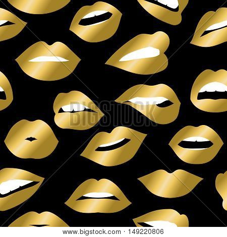 Gold Girl Mouth Icons Seamless Pattern Design