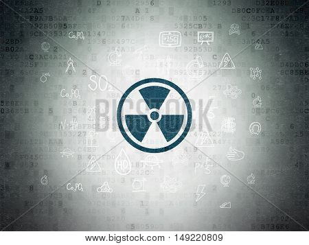 Science concept: Painted blue Radiation icon on Digital Data Paper background with  Hand Drawn Science Icons