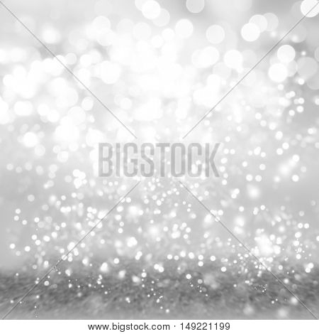 Silver and white circles abstract defocused bokeh background