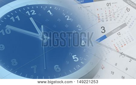 Clock face and calendars composite