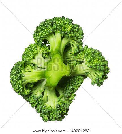Fresh broccoli isolated on white background close up