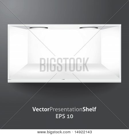 Isolated vector shelf for product presentation with lights