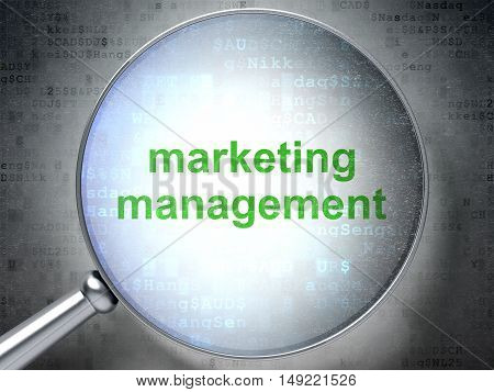 Marketing concept: magnifying optical glass with words Marketing Management on digital background, 3D rendering