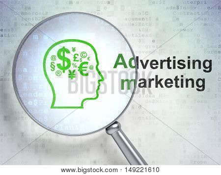 Marketing concept: magnifying optical glass with Head With Finance Symbol icon and Advertising Marketing word on digital background, 3D rendering