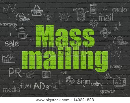 Advertising concept: Painted green text Mass Mailing on Black Brick wall background with Scheme Of Hand Drawn Marketing Icons