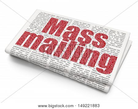 Advertising concept: Pixelated red text Mass Mailing on Newspaper background, 3D rendering