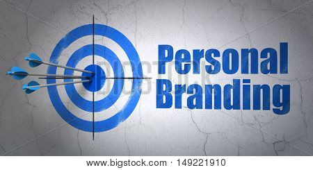 Success advertising concept: arrows hitting the center of target, Blue Personal Branding on wall background, 3D rendering