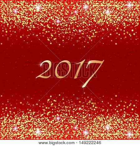 Happy New Year 2017. Vector holiday template with sparkles on red background. Gold glitter frame for greeting cards vip exclusive gift luxury voucher shopping.
