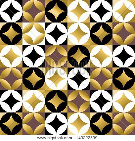 Gold Mosaic Tile Seamless Pattern In Vintage Style