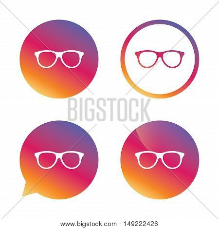 Retro glasses sign icon. Eyeglass frame symbol. Gradient buttons with flat icon. Speech bubble sign. Vector