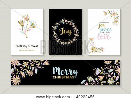 Gold Christmas Set Of Floral Illustration Designs