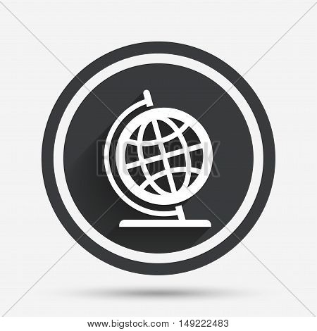 Globe sign icon. Geography symbol. Globe on stand for studying. Circle flat button with shadow and border. Vector