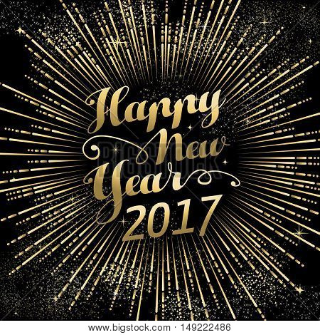 Happy New Year 2017 Gold Holiday Background