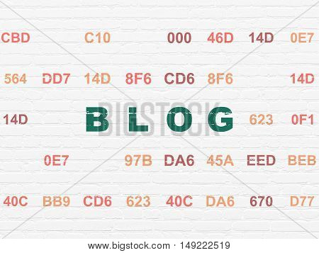 Web development concept: Painted green text Blog on White Brick wall background with Hexadecimal Code