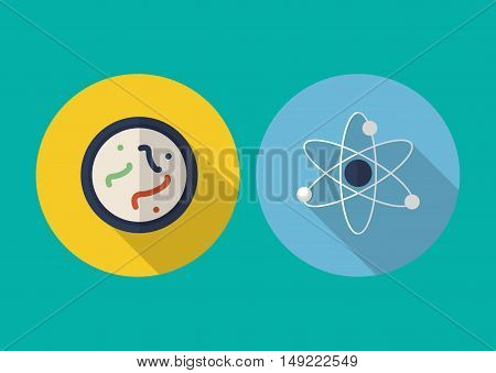 flat design atom with microscopic sample science related icons image vector illustration