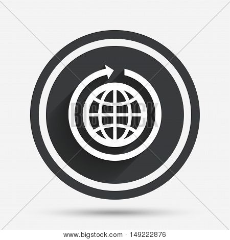 Globe sign icon. Round the world arrow symbol. Full rotation. Circle flat button with shadow and border. Vector