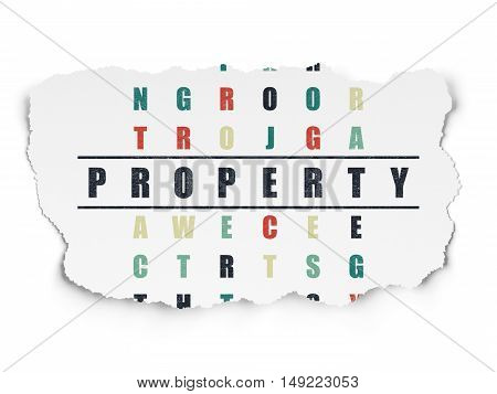 Finance concept: Painted black word Property in solving Crossword Puzzle on Torn Paper background