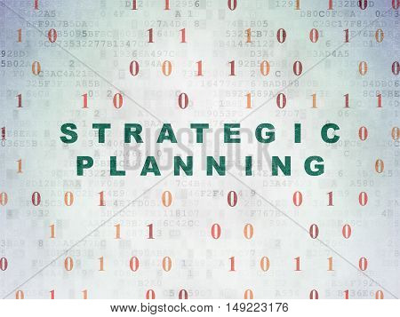 Finance concept: Painted green text Strategic Planning on Digital Data Paper background with Binary Code