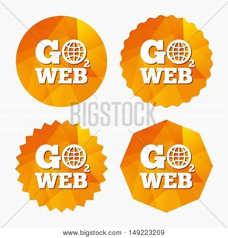 Go to Web icon. Globe sign. Internet access symbol. Triangular low poly buttons with flat icon. Vector