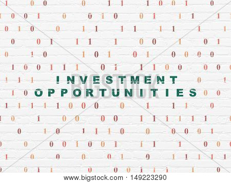 Business concept: Painted green text Investment Opportunities on White Brick wall background with Binary Code