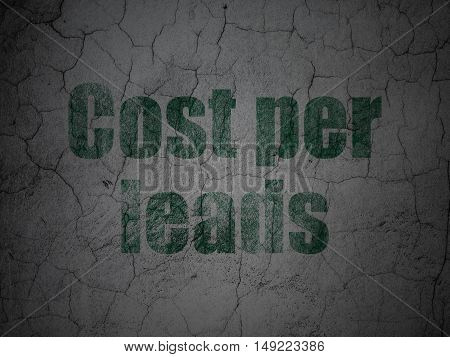 Business concept: Green Cost Per Leads on grunge textured concrete wall background