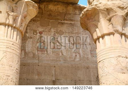Carving Wall In Edfu Temple