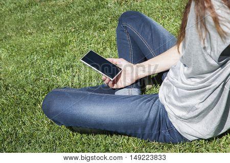 Empty Screen Phone Woman On Grass