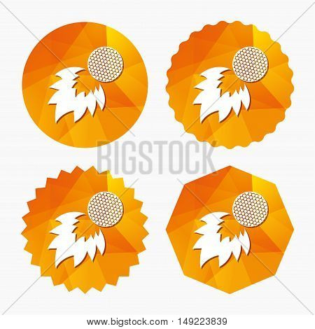 Golf fireball sign icon. Sport symbol. Triangular low poly buttons with flat icon. Vector