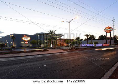 LAS VEGAS - DEC 25: Harley Davidson dealership on Las Vegas Strip in sunrise on Dec 25, 2015 in Las Vegas, Nevada, USA.